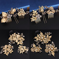 3pcs Set Wedding Bridal Princess Crystal Rhinestone Gold Diamante Leaf Flower Butterfly Hair Pins Clips Grips Hair Comb Headband