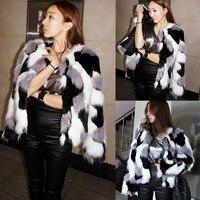 Плюс Размеры S-6XL Для женщин смешанные Цвет искусственного меха пальто Пушистый Зима Повседневное Меховая куртка элегантный лохматый короткие женские Верхняя одежда Пальто 2018
