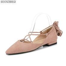 aa7e17f63bc 2019 Women Pumps lace up Women Shoes Platform Square Low Heel Flock Buckle Pointed  Toe Women