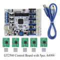 Placa de Controle Da Impressora 3D Apoio GT2560 Ultimaker Extrusora Dupla Potência Do Que ATmega2560 + 5 PCS A4988 + 5 PCS de Dissipadores de Calor