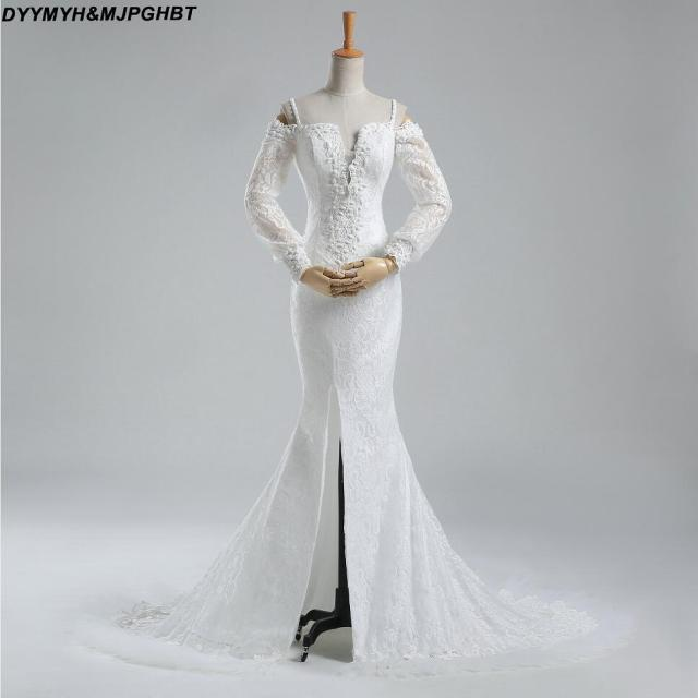 Elegant Long Sleeve Lace Bridal Gowns Cut Out V Neck Off Shoulder With Strap Lower