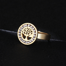 DOTIFI Titanium 316L Stainless Steel Rings For Women A Circle Cf Zircon Trees Engagement Wedding Ring Jewelry