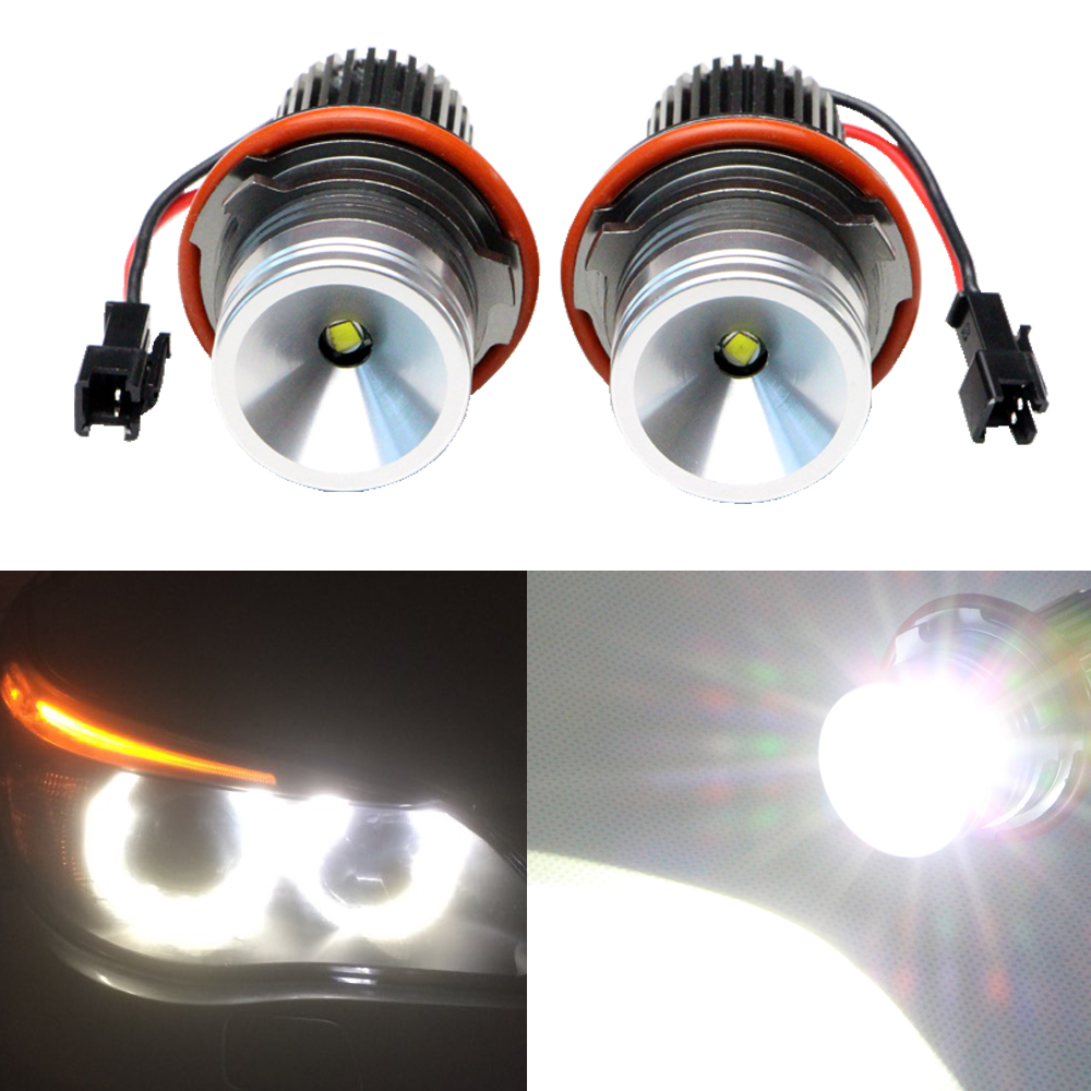 1pairs 10W 12V LED Marker Angel Eyes Bulb for BMW E39 E53 E61 E64 E65 E66 E87 1400LM super bright No Error Car  Styling new e39 rgbw ir remote control led marker angel eyes for bmw e87 e60 e61 e63 e64 e65 e66 e53 e83 x5 rgb color changing lighting