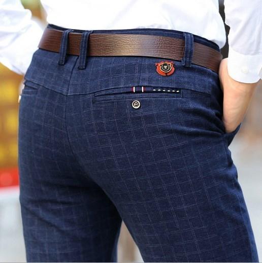Venta al por mayor de Los Hombres de Primavera Otoño Pantalones de Vestir Pantalones Casuales de Negocios Pantalones Rectos Azul A Cuadros Negro