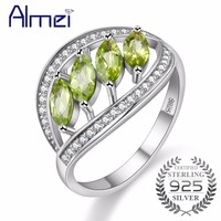 Almei Wedding Ring Silver 925 Zircon Rings For Women Cubic Zirconia Green Engagement Ring Jewelry Gifts