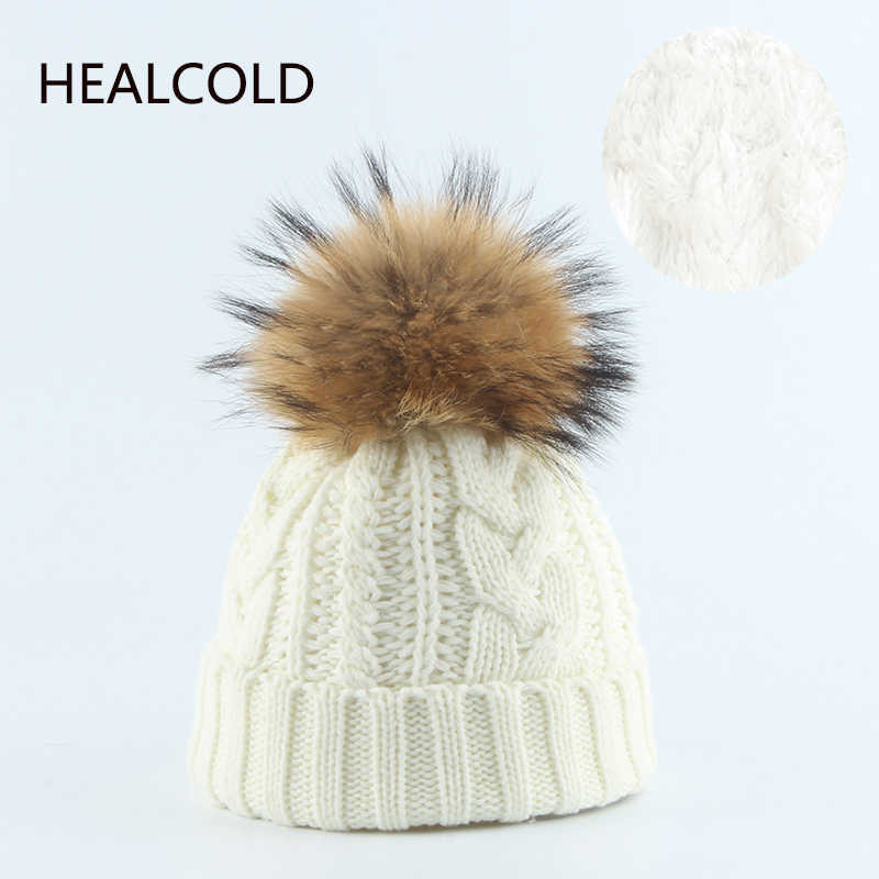 Winter Hat For Women Natural Fur Pompom Hats Mother Kids Knitted Warm Beanies Thick Caps