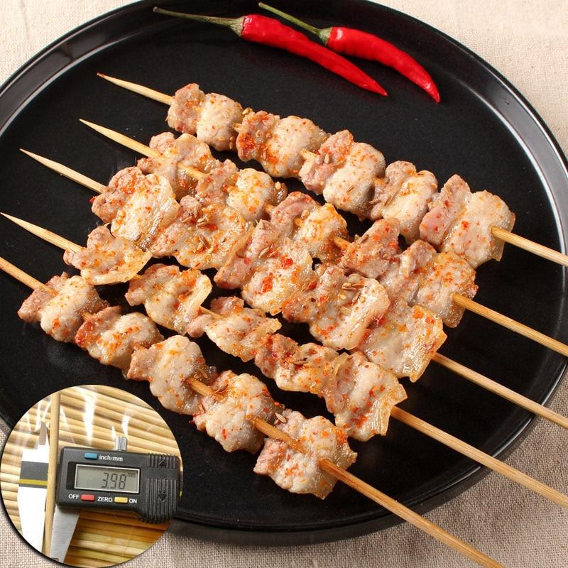 100Pcs Skewers BBQ Bamboo Barbecue Sticks Grill Needle Kabab Shish Wood Kabob
