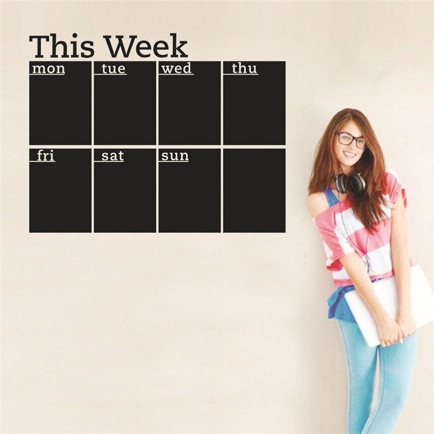 Week Plan Calendar Chalkboard Removable Planner Wall Stickers Black Board Office School Decals Wall Decor Drop Shipping 627#&
