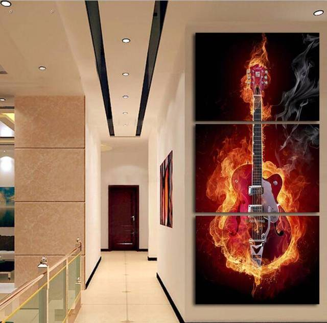 3 Panels Hd Printed Burny Guitar Wall Art Painting Canvas Print Room Decor Poster Picture