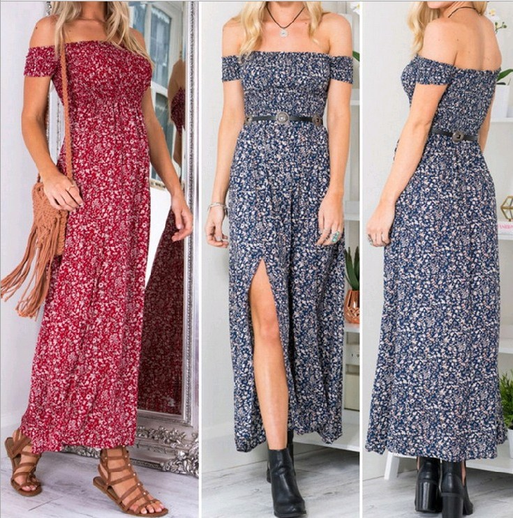 Sexy Strapless Beach Summer Dress Sundresses Vintage Bohemian Maxi Dress Robe Femme Boho Floral Women Split Long Dresses Vestido 1