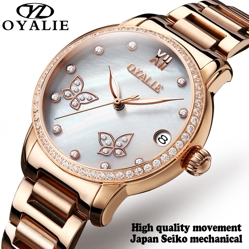 Women's Automatic Watches OYALIE Mechanical Gold Watches Top Brand Luxury Ladies Watch Stainless Steel Wristwatches 2017 new jsdun luxury brand automatic mechanical watch ladies rose gold watches stainless steel ladies tourbillon wrist watch
