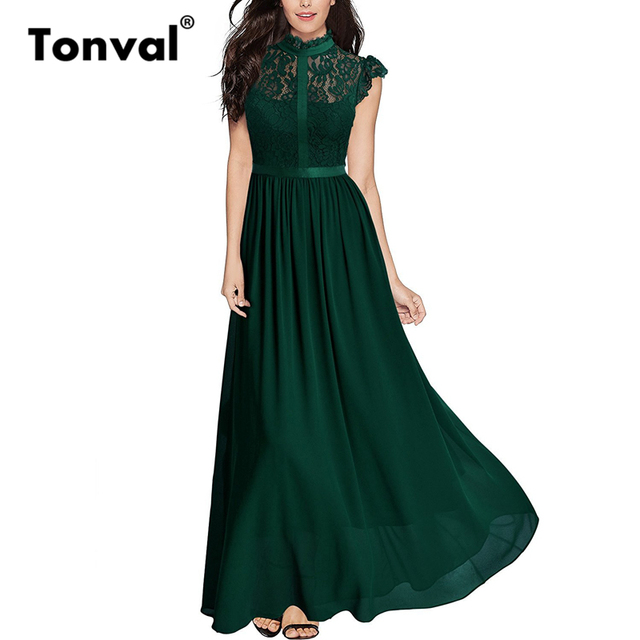Green Maxi Dress with Cap Sleeves