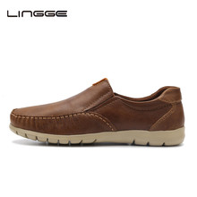 LINGGE New 2017 Shoes Men Casual Loafers Genuine Leather Light Up Shoes Male Moccasins Smart Shoes