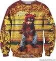 2016 Новых людей способа с капюшоном мультфильм медведь 3d печати тонкий хип-хоп 3d женская толстовка с капюшоном пуловер