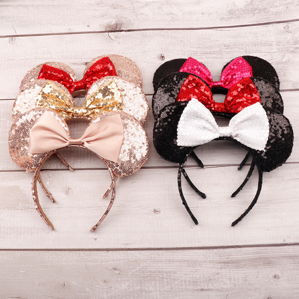 Headwear Hairband Sequin Bow Headband for Girls Minnie Mouse Ears Hairbands Birthday Party Kids Fashion Hair Accessories 6