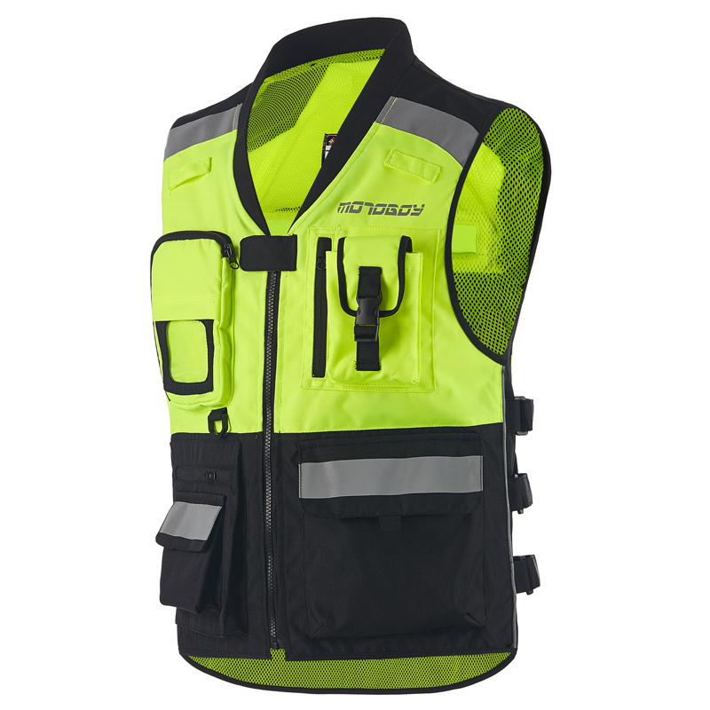 Men High Visibility Reflective Motocross Racing Vest Safety Night Riding Jackets Motorbike Motorcycle Vest with Protectors duhan men s motocross outdoor riding reflective desgin waistcoat clothing motorcycle jackets summer racing vest jaqueta