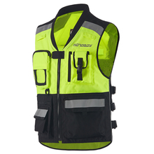 Men High Visibility Reflective Motocross Racing Vest Safety Night Riding Jackets Motorbike Motorcycle Vest with Protectors цена и фото