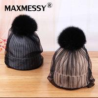 Maxmessy Для женщин зимние вязаные Шапки лиса Мех животных помпонами с сеткой Кружево Skullies элегантные женские теплые модные женские шапочки MH101