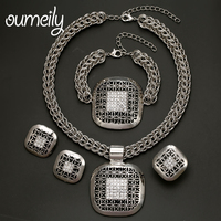 OUMEILY High Quality Turquoise Jewelry Sets Necklace Bracelet Earrings Rings For Women African Indian Bridal Silver