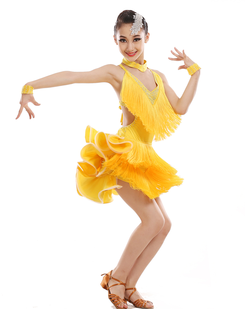 New 2016 girls Sequin tassel Stage Performance Competition Cha ChaRumbaSambaBallroom Dance Costume Latin Dance Dress For Girl