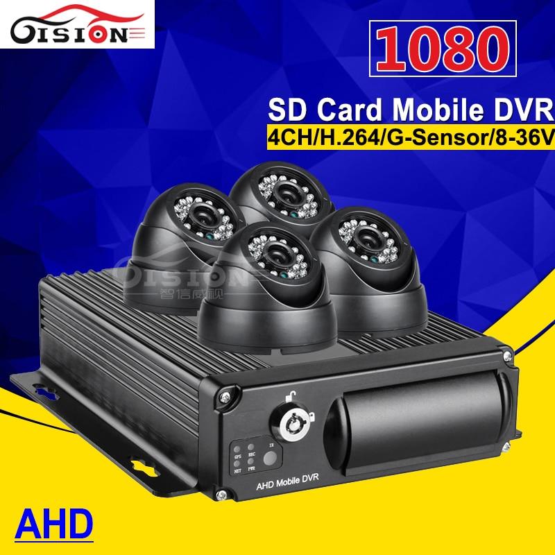 Free Shipping 4 Pcs Bus Truck Camera Mobile Dvr Kit, H.264 4CH Video/Audio Input AHD 1080 Video Recorder Car Dvr I/O G-sensor