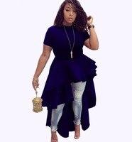 Asymmetric High Low Cascading Ruffles Party Dress Fashion Women Short Sleeve Back Zipper Mid Calf Dresses