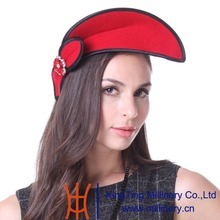 June's Young Women Feather Fascinator Hats Cocktail Party Red Wool  Cool Special Designer Fashion Style Casual Accessories Hats