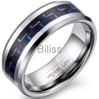 Top Quality 8mm Mens Tungsten Carbide Rings Wedding Band with Blue & Black Carbon Fiber anillo negro fibra carbono Drop Shipping