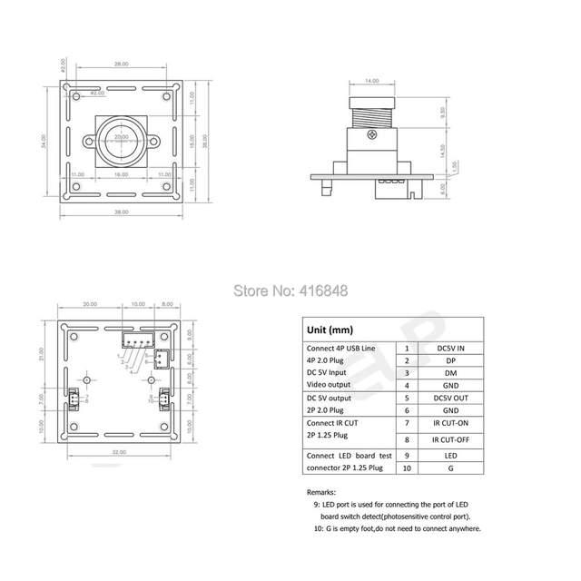 US $28 47 15% OFF|640X480 VGA MJPEG YUY2 OV7725 color sensor 3 6mm lens  CCTTV UVC1 1 micro min usb CMOS camera module 38*38mm size-in Surveillance