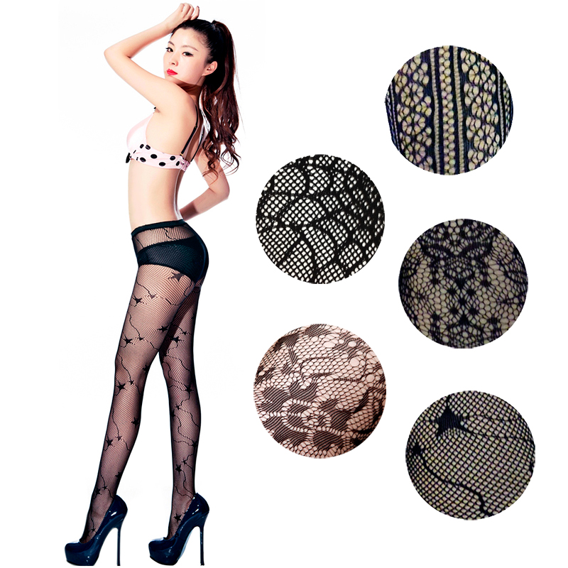 LIMSISNIW Fashion Women Nylon Fishnet Tights Personalized Patterned Black Color Ladies Slim Looking Pantyhose Individual Dobby
