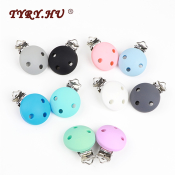 TYRY.HU 50pcs Round Silicone Baby Pacifier Clip Chain Soother Nursing Toy Accessory Holder Clips Bpa free Dummy Teether Clips