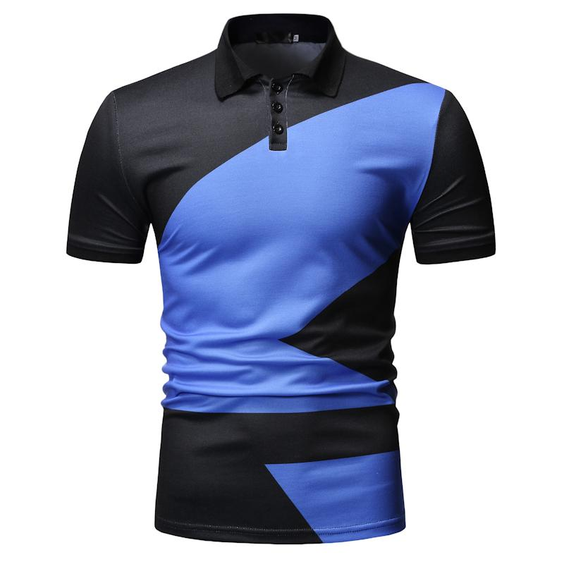 Casual   Polo   Shirt for Men Short sleeve Color stitching Summer Tops Business Men   Polo   Shirt Tees Blue Green New