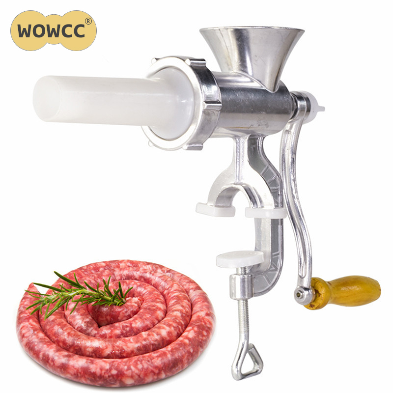 WOWCC Aluminium Alloy Hand Operate Manual Meat Grinder Sausage Beef Mincer With Tabletop Clamp Kitchen Home Tool
