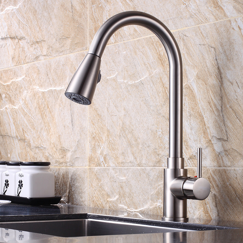 AUSWIND Electroplate Kitchen Faucets Brass Silver Crane Bathroom Faucet Pull Out Single Handle Hole Mixer Taps Hot Cold Water kitchen faucet single handle hole pull out spray brass kitchen sink faucet mixer cold hot water taps torneira cozinha gyd 7111r