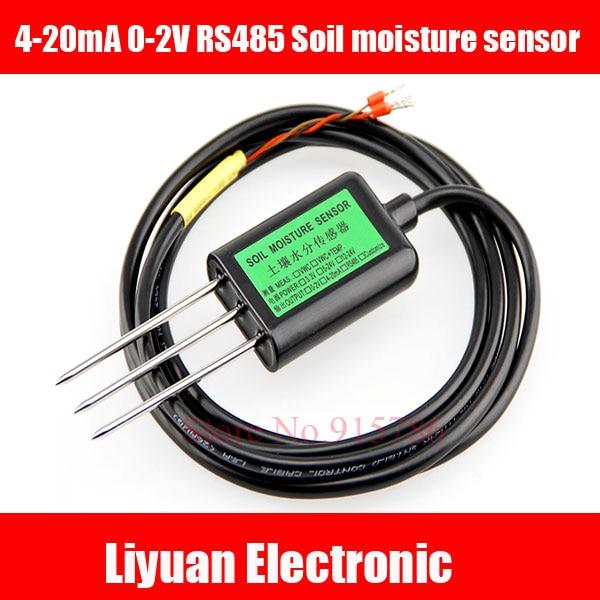 1pcs RS485 Soil Moisture Sensor 4-20mA 0-2V Output Voltage Soil Humidity Sensor / 100% Soil Moisture Volume Cable 2m