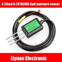 1 pces rs485 sensor de umidade do solo 4 20ma 0 2v tensão de saída sensor de umidade do solo/100% cabo de volume de umidade do solo 2m