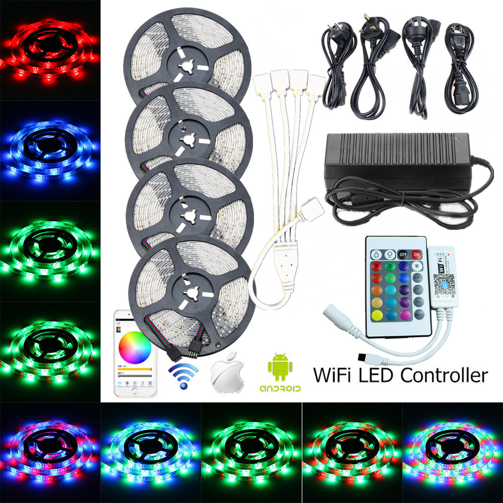 5M 10M 15M 20M RGB LED Strip SMD 2835 Waterproof LED Rope Light DC 12V Flexible Tape Ribbon With LED WiFi Controller EU Adapter
