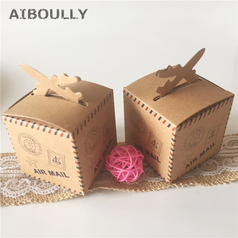 50pcs DIY Air Mail Plane Aircraft Airplane Style Vintage Kraft Candy Box Wedding Favors and Gifts Bag Party Supplies