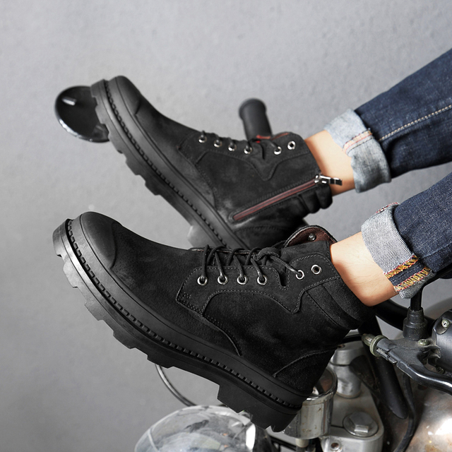 Boots Men Warm Winter Leather Motorcyxle Boot Shoes for Men Casual Flats Lace-Up Autumn Work Tooling Boots Military Mens Shoes 2