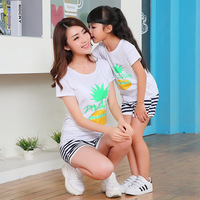 Family Mother And Daughter Summer Clothing Pineapple Pattern Family T Shirt Girls Sports Clothes 2017 Family
