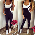 2016 Autumn Womens Overalls Solid Colors Long Strap Jumpsuits Women Black Hole Pocket Sleeveless Rpmpers and Jumpsuit Femme