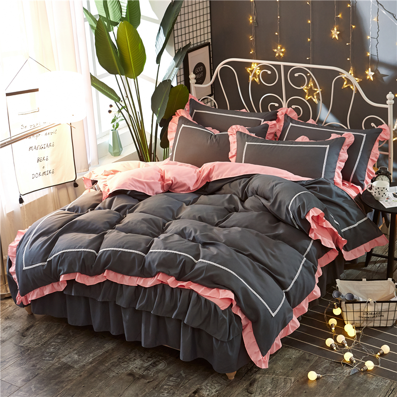 Cute Korean Pink Polka solid duvet cover Sets Romantic Lace Girls Princess quilts Cover Designer Fairy queen king Bedding SetsCute Korean Pink Polka solid duvet cover Sets Romantic Lace Girls Princess quilts Cover Designer Fairy queen king Bedding Sets