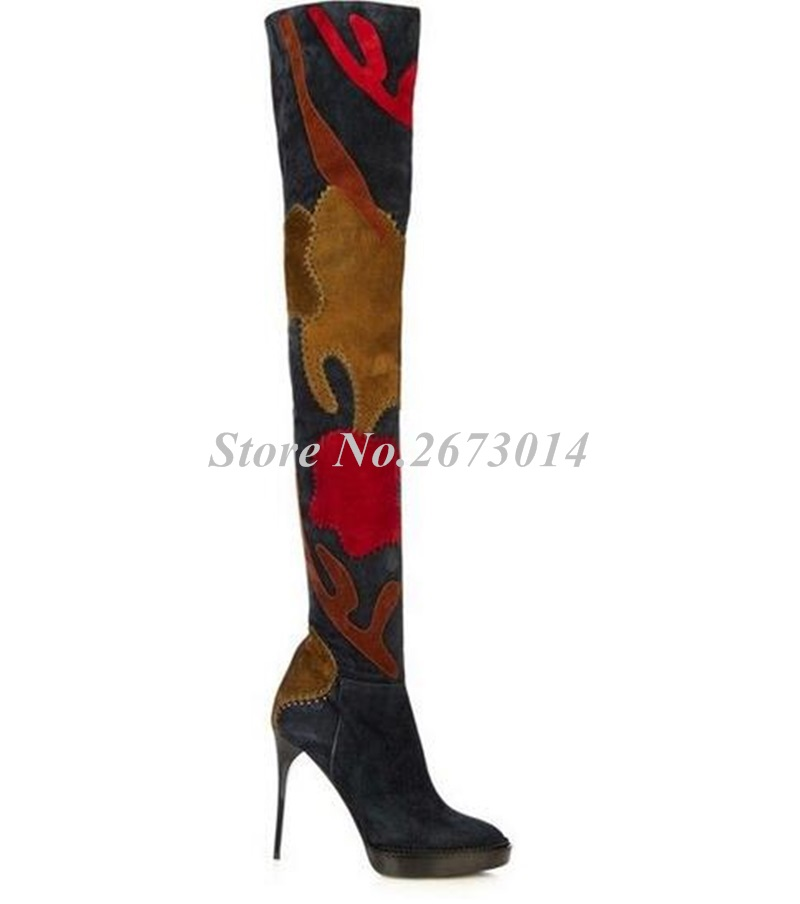 2019-European-Style-Winter-New-Arrival-Women-Boots-Floral-Patchwork-Over-the-Knee-Boots-Suede-Leather (1)