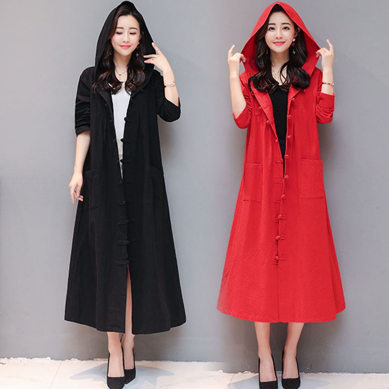 Vintage Women's long-sleeved hooded   Trench   spring new national wind women's cotton and linen slim long   trench   coat Outwear