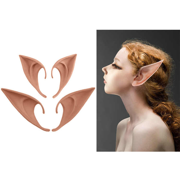 1 Pair Elf Ears fairy Cos Mask Cosplay Accessories Latex Soft Prosthetic False Ear Halloween Party Masks