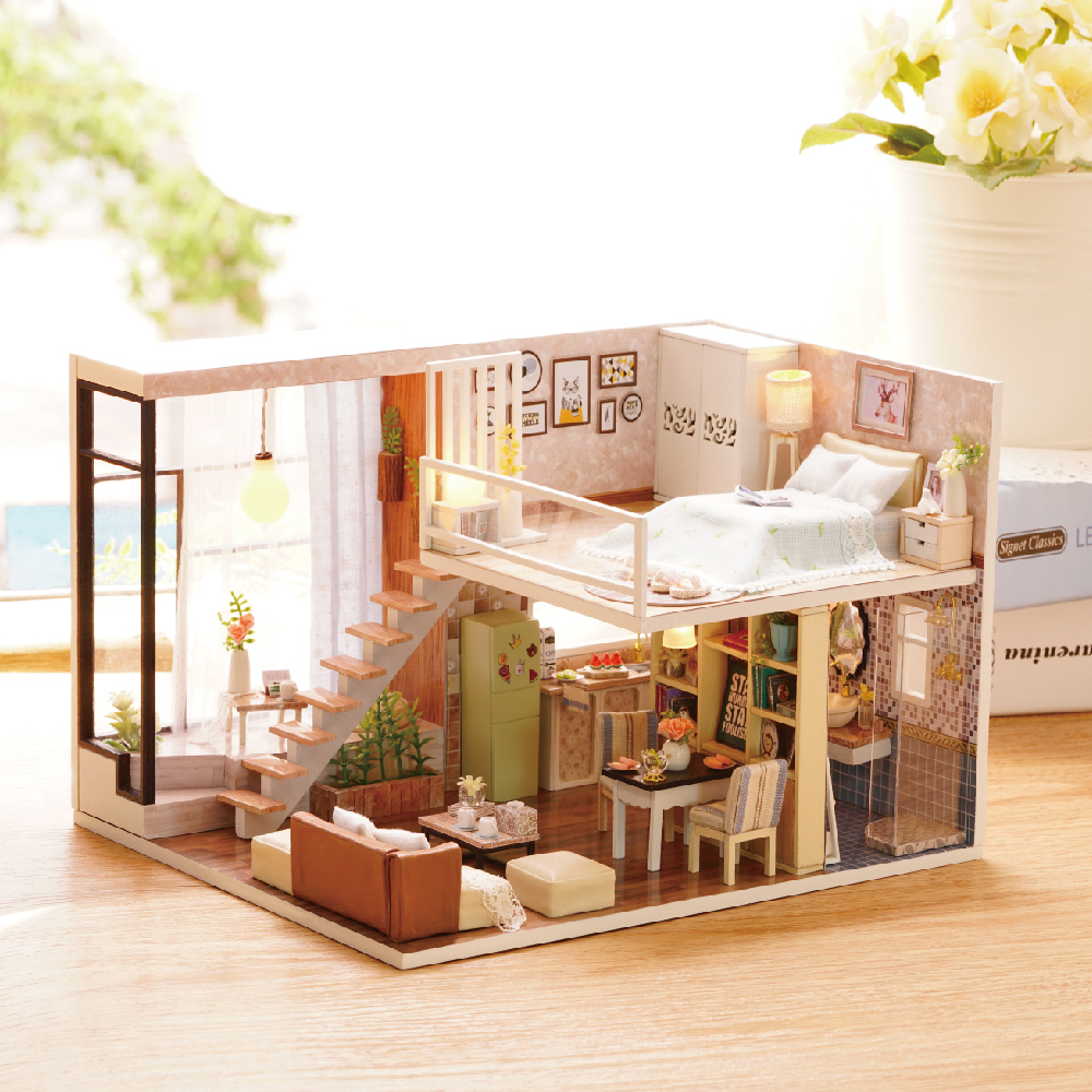 CUTE ROOM DIY Doll House Miniatures With 5 Led Furnitures 3D Dollhouse Wooden Miniaturas Toys For Children Gifts Waiting Time