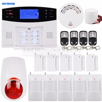 DIYSECUR 433MHz Wireless & Wired GSM SMS Home Security Alarm System Kit + 5 PIR Motion Sensor + Smoke Sensor + 4 Remote Control