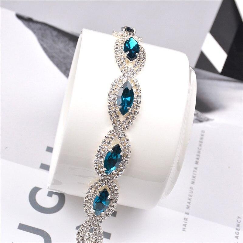 Beautiful Boako Luxury Crystal Bracelets For Women Silver Color Blue Zircon Bracelets & Bangles Femme Bridal Wedding Jewelry Pulseira R4