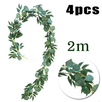 4pcs Eucalyptus Vine Hanging Artificial Plant Fake Leaves Bush 2m Garland Wedding Party Garden Decoration Silk