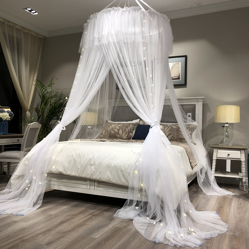 Princess Style Hung Dome Mosquito Net Round Lace Curtain For Home Textile Bed Canopy Crib Polyester